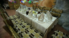 Table Setting on Children's Birthday Stock Footage