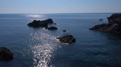 Lanscape, seascape, rocky sea shore in La Manga, Spain. Stock Footage