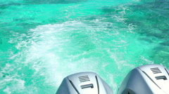 Waves from a speedboat outboard motor Stock Footage