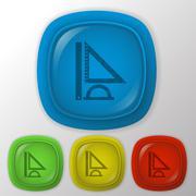 Ruler, protractor, triangle. symbol of geometry and mathematics. icon trainin Stock Illustration