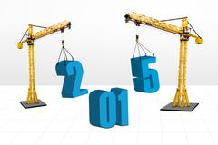 Stock Illustration of two cranes build number 2015