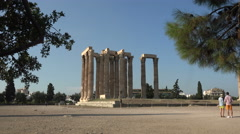 Couple at Temple of Zeus Athens Greece 4K 021 Stock Footage