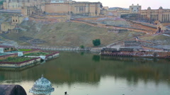 Stock Video Footage of Landscape with fort and lake in Jaipur India