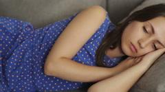 Girl Falls Asleep - stock footage