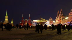 Moscow, Red Square at Christmas, New Year time. Chrismas fair. Stock Footage