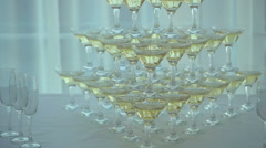 Pyramid of Champagne Glasses Stock Footage