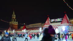 Moscow, Red Square at Christmas, New Year time. Ice rink and Chrismas fair Stock Footage
