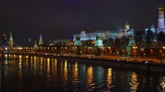 Establishing shot. Moscow Kremlin at winter night. View from river side. Stock Footage