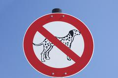 Stock Photo of No Dogs Allowed Sign, Lake Chiemsee, Gstadt, Bavaria, Germany
