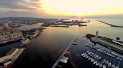 Aerial view of port area of sete, france Stock Footage