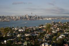 Overview of Auckland Skyline, Auckland Region, New Zealand Stock Photos