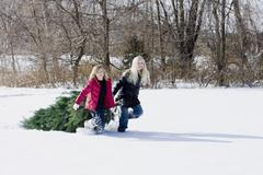 Girls Dragging Christmas Tree through Snow Stock Photos