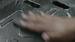 Womans hand cleaning the stove Stock Footage