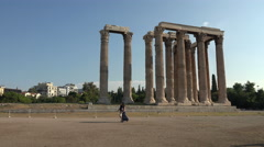 Couple walking Temple of Zeus Athens Greece 4K 020 Stock Footage