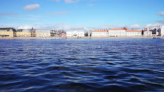 Historical buildings at Neva river embankment Stock Footage