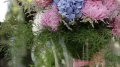 Bouquet of flowers in vase Stock Footage