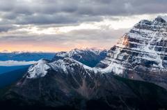 mountain range view at colorful sunrise, banff, canada - stock photo