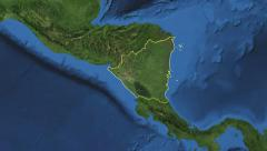 Nicaragua. 3d earth in space - zoom in on Nicaragua contoured 4k - stock footage