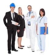 workers of different professions together on white - stock photo