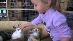 Girl touch rabbits in contact zoo - stock footage