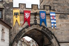 Stock Photo of medieval flags of old town bridge tower, prague
