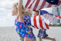 Children With American Flag Towels, Miami Beach, Dade County, USA - stock photo
