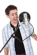 Singer and microphone Stock Photos