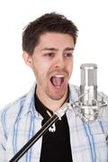 singer and microphone - stock photo