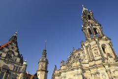 Dresden Castle, Katholische Hofkirche and Hausmann Tower, Dresden, Saxony, - stock photo