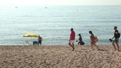 People at the beach. Holiday tourist mediterranean sea Stock Footage
