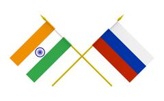 flags, india and russia - stock illustration