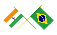 Stock Illustration of flags, brazil and india
