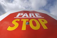 Stop Sign, Ushuaia, Tierra Del Fuego, Argentina Stock Photos