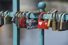 Close-up of Locks of Love, Wroclaw, Lower Silesian Voivodeship, Poland Stock Photos