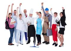 Group of people representing diverse professions Stock Photos