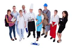 group of people representing diverse professions - stock photo