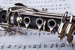 clarinet and musical note - stock photo