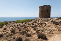 Ancient Tower, Cala Domestica, Iglesiente, Sulcis-Iglesiente, Sardinia, Italy Stock Photos
