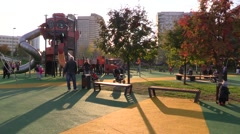 Children urban playground - stock footage