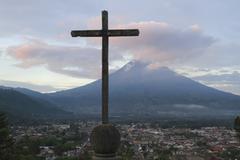 Cross and Volcan de Agua View From Cerro de la Cruz, Antigua, Sacatepequez - stock photo
