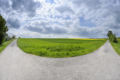 Forked Road in Field, Bischbrunn, Spessart, Main-Spessart, Bavaria, Germany - stock photo
