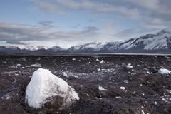 Ash and Ice, Aftermath of Volcanic Eruption in Eyjafjallajokull and Flooding of Stock Photos