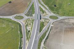 Aerial View of Highway with Traffic Roundabout, Cadiz Province, Andalusia, Spain Stock Photos