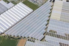 Aerial View of Greenhouse Rooftops, Cadiz province, Andalusia, Spain Stock Photos