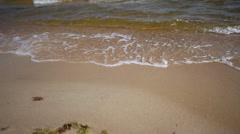 Seascape. Sea or ocean water shore. Sandy beach - stock footage
