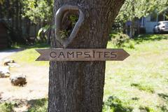 Sign Pointing towards Campsites on Orcas Island, San Juan Islands, Washington, - stock photo