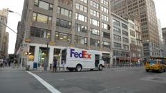 FedEx Truck Manhattan New York City Federal Express NYC Stock Footage