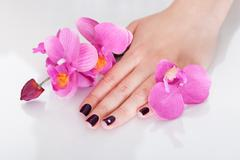 orchids and beautiful nails - stock photo