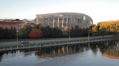 Ottawa Red Blacks Stadium At Dusk With The Rideau Canal Lansdowne Park Ottawa Stock Footage