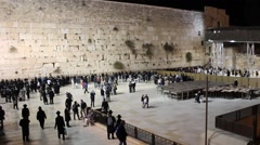 Wailing Wall at Night Stock Footage